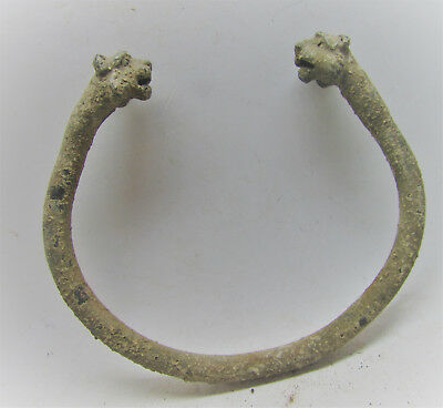 Ancient Near Eastern Bronze Bracelet With Panther Head Terminals