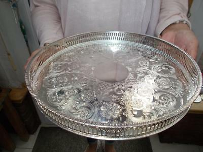 """Vintage Viners Circular Silver Plated Gallery Tray Unused Mint Condition 10""""n"""