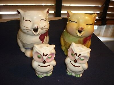 Two Shawnee Cat Creamers Plus Owl Salt And Pepper Shakers