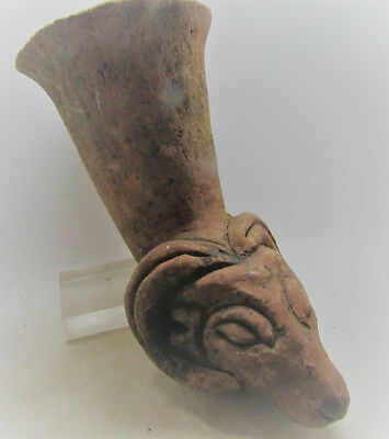 Ancient Greek Terracotta Ceremonial Rhyton With Ram Head