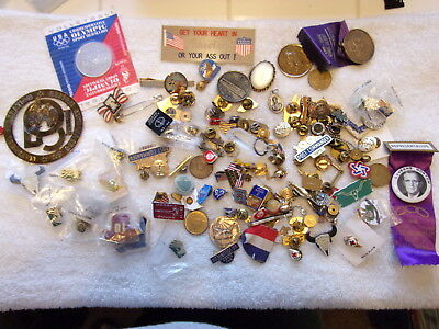 Huge Lot Miscelaneous Pins Medals Tie Clips Etc