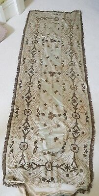 """Antique Victorian Hand Made Silk Panel For Restoration 25"""" X 70"""" Bed Throw Stole"""