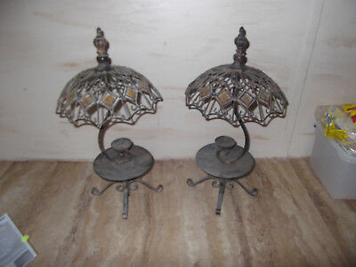 Pair of wrought iron  candle holders - French PARIS CAFE STYLE  REALLY NICE