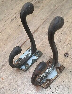 Pair of old Solid brass coat hooks