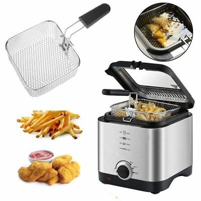 900W Deep Fat Fryer 1.5L Litre Chip Pan Basket Non Stick Oil Compact Brushed S/S