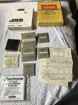 Large Collection Of ILFORD FILTERs. Multigrade Ilfospeed Vintage Glass Gelatine