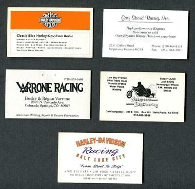 Lot of 5 Vintage Harley Drag Racing Business Cards-Stroud-Nungesser-Varrone-MORE