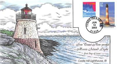 3787 37c Southeastern Lighthouses Morris Island, Collins Hand Painted [E395598]
