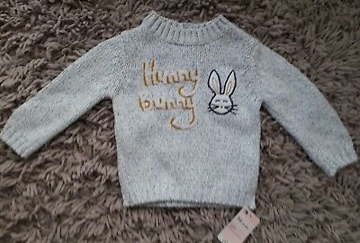 Mothercare Baby Girls Quality Cute Bunny Jumper Age 3/6 Months New Easter Bnwt