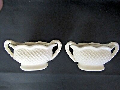 "Antique Vintage Candle Holders Pair ""made In Japan"" Marked Basket Weave Pattern"