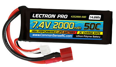 CMS2S2000-50D Lectron Pro 7.4v 2000mah 50c Lipo Battery with Deens