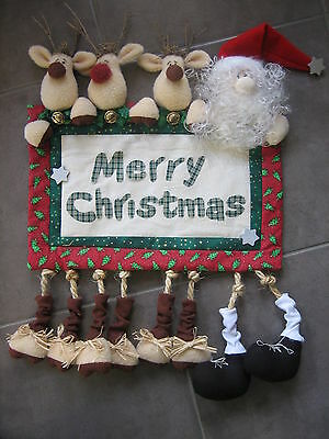 Handmade Whimsical Christmas Reindeer & Santa Wall Hanging, Sewing Craft doll