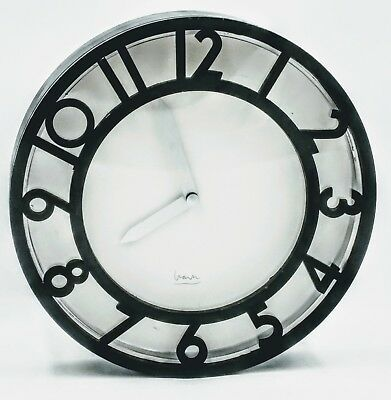 RARE Michael Graves Wall Clock Round Art Deco Black With Silver Hands WOW Works!