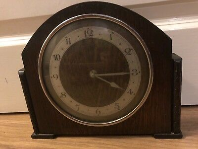 BEAUTIFUL VINTAGE WIND UP WOODEN MANTLE CLOCK  MADE BY John D Francis LTD