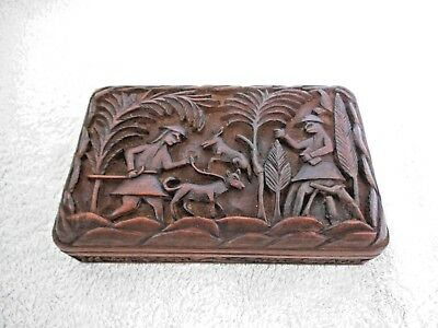 ANTIQUE, HAND CARVED WOODEN BOX. hunting scene