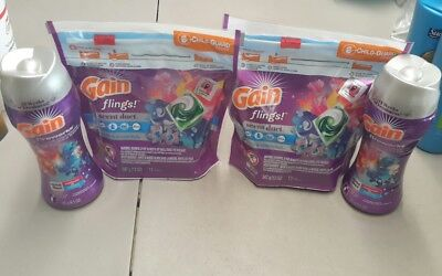 2 Pack Gain Flings 24 pods total with 2 scent booster 6.5 oz  13 oz total