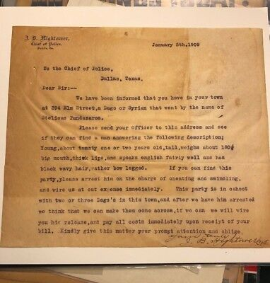 1909 Dublin Georgia  Police Department Letter Signed By Chief Of Police