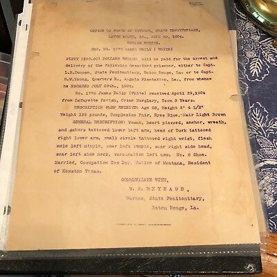 Escape Notice Baton Rouge Louisiana State Penitentiary Named Dated 1904