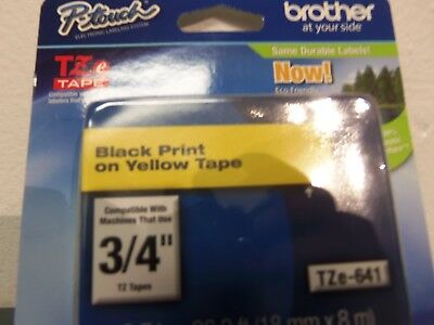 """Brother TZE-641 Laminated P-touch Black Print on Yellow Tape. 3/4""""."""