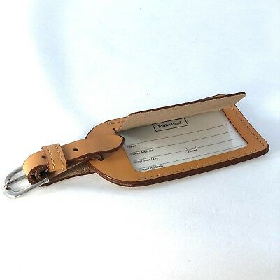 Luggage Tag Natural Leather Made in USA by Mulholland Brothers