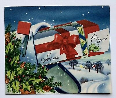 Vintage Christmas Greeting Card Mailbox Fold Out Present House Town Snow Tree