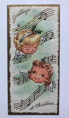 Vintage Christmas Greeting Card Pretty Girl Angel Gold Music Note Holly Cute