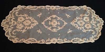 "Antique French Tambour Needle Lace Net Runner Dresser Scarf 33"" Ecru Vintage"