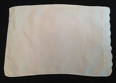"""Antique Small Baby PILLOWCASE White Embroidered Linen 17.50"""" Vintage"""