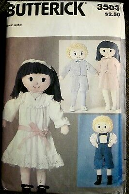 """Vintage UNCUT Butterick Boy and Girl Doll and Clothes Pattern Size abt 32"""" Tall"""
