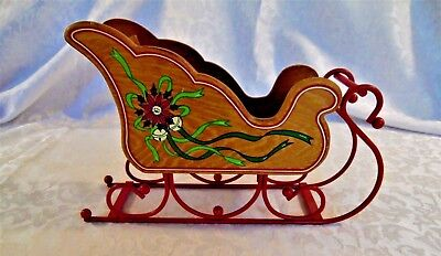 Small Decorative Wooden Sleigh with Metal Rails