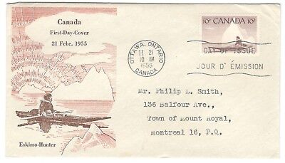 1955 Ottawa 10c Eskimo-Hunter Issue First Day Cover FDC Lovely Caneco Cachet