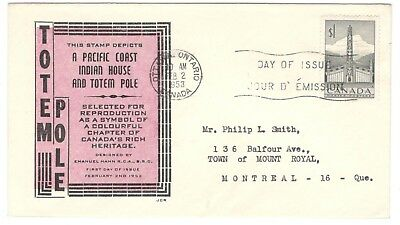 1953 Ottawa $1 Totem Pole Issue First Day Cover FDC JCR Cachet