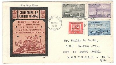 1951 Toronto Postage Centennial Set Combo First Day Cover FDC JCR Cachet