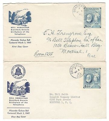 2x 1947 Brantford, Ont. 4c Alexander Bell First Day Covers FDC's Unusual Cachets