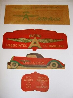 Rare 1930's Flying A Associated Gasoline Advertising Paper Auto Airplane