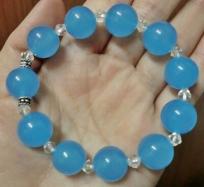 Elegant 12mm Light Sky Blue Jade Beads & 4mm White Crystal Beads Bracelet 7 inch