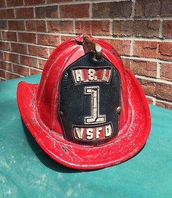 Vintage Leather Fire Helmet H & L #1 Hook & Ladder Vsfd Valley Stream N. Y. Nice