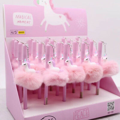 Pink Unicorn Plush Pompom Ball Gel Ink Pen Rollerball Office School Supply 0.5mm