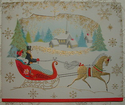 UNUSED - Peep Hole - Gold Horse - Sleighride - 1950's Vintage Christmas Card