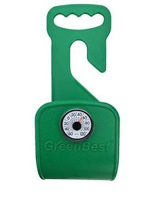 Garden-Hose-Hanger-Holder-Carrier-Durable-Rust-Free-Support-Thermometer  Green