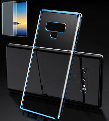For Samsung Galaxy Note 9 Note 8 Full Cover Clear Soft TPU Case & Tempered Glass