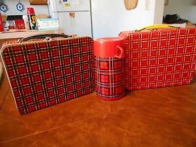 Vintage Plaid Metal Lunchboxes 2& 1 Thermos