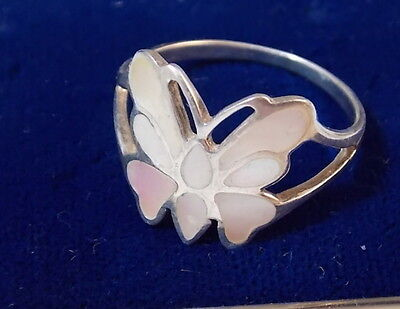 Vintage 925 Sterling Butterfly White Mother of Pearl MOP Inlay Sz 9 Ring  5d 76