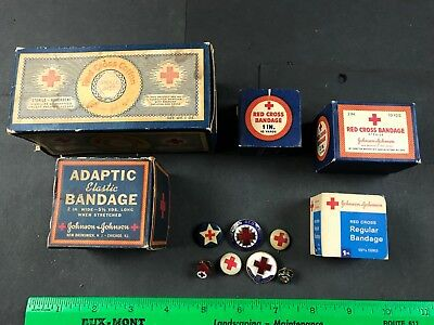 Antique Red Cross Advertising Bandages & Pins 1940's 1950's WW2 Vintage Medical