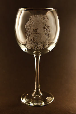 New! Etched Wirehaired Dachshund on Large Elegant Wine Glasses - Set of 2