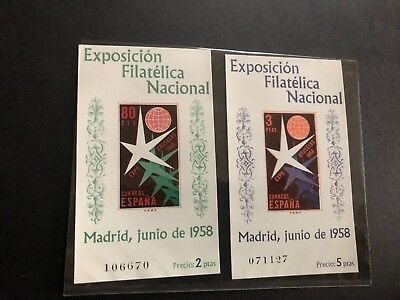 spain stamp ss sheets imperf 877a, 878a scv 35.00 f249