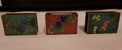 Antique Brass And Enamel Match Box Cover Decorated Matchbox Holders