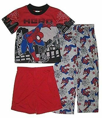 Boys size 4 Spider-man Hero 3 Piece Pajama Pj Set Shorts Tee & Pants NWT