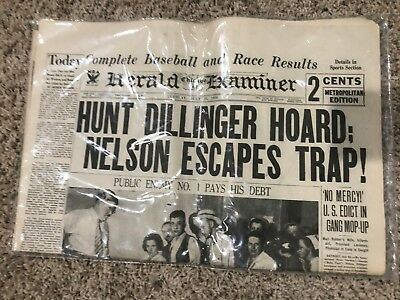 Chicago Herald Examiner Tuesday, July 24, 1934 - Hunt Dillinger Hoard