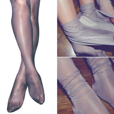 Mens Ultrathin Pantyhose Body Stocking Oil Shiny Glossy Tights Sheath Close Open